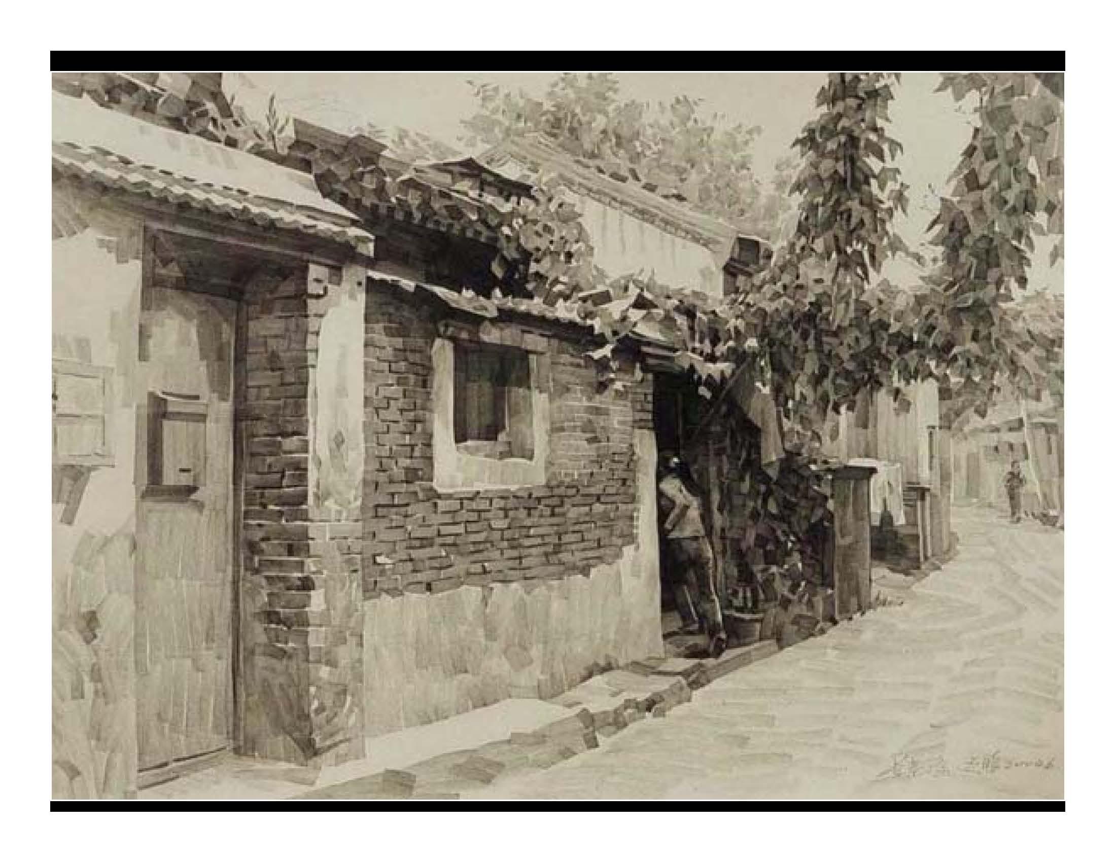 铅笔古镇风景写生图片