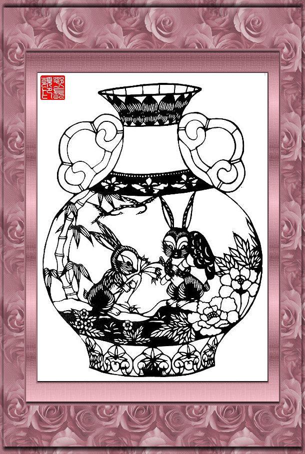 十二生肖剪纸 花瓶版